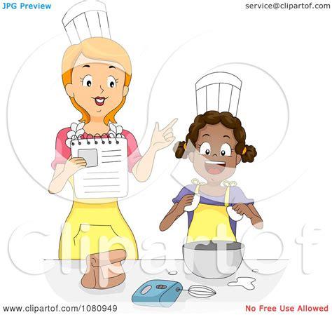 Clipart Home Economics Teacher Instructing A Girl ...