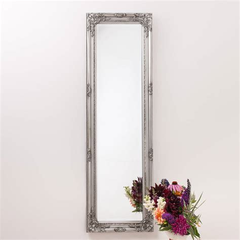 distressed mirror glass ornate vintage silver pewter mirror length by