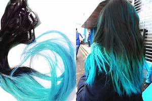 Ombre Hair Extensions // Turquoise & Jet from ...