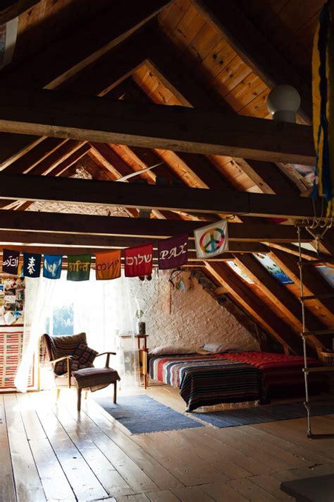 boho   attic interiors  color