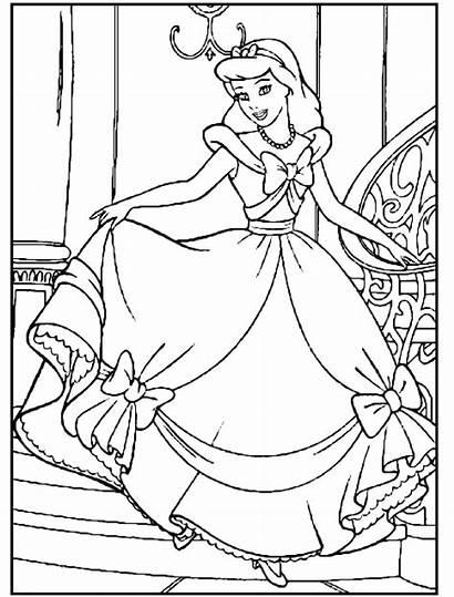 Cinderella Coloring Princess Pages Disney Colouring Printable