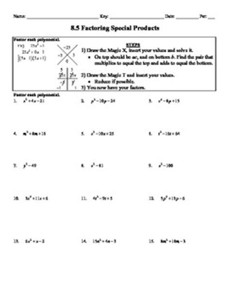 holt algebra 8 5 factoring special products worksheet doc pdf