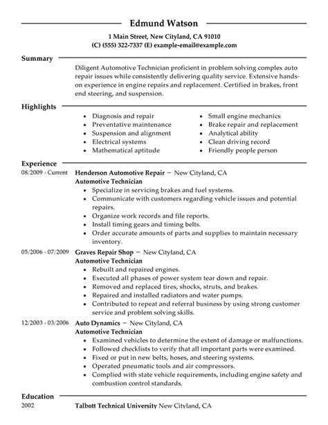 resume templates for automotive service manager best automotive technician resume exle livecareer