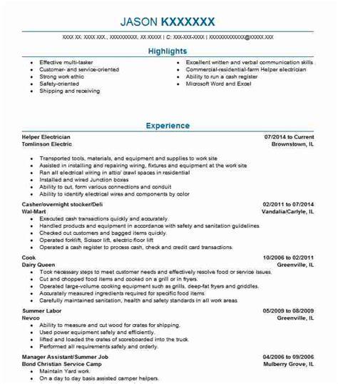 Electrician Helper Resume by Helper Electrician Resume Sle Electrician Resumes