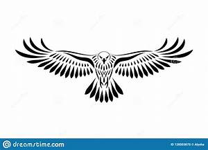 Engraving Of Stylized Hawk On White Background Stock