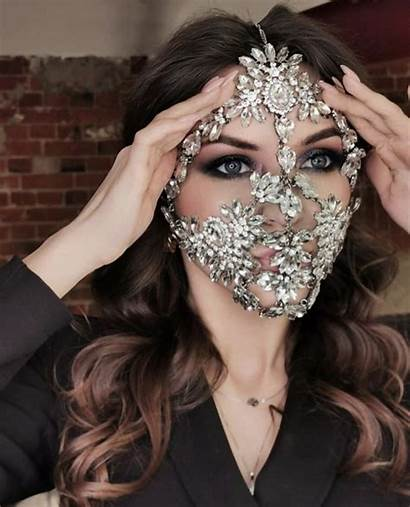 Face Mask Jewelry Crystal Veil Masks Accessory