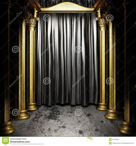 black fabric curtain on stage royalty free stock