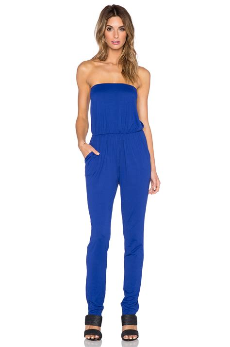 strapless jumpsuit lyst susana monaco strapless jumpsuit in blue