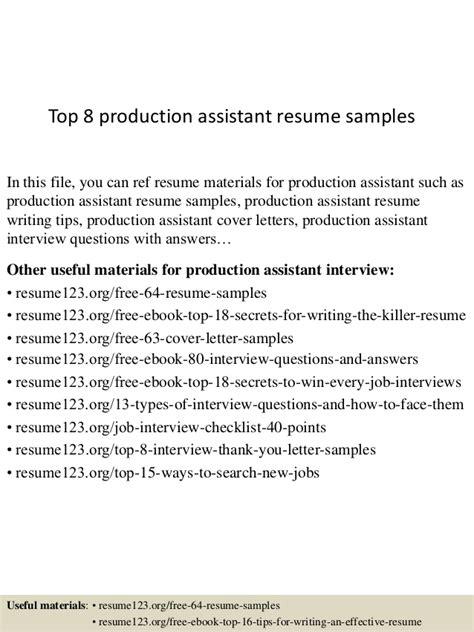 Production Assistant Description Resume by Top 8 Production Assistant Resume Sles