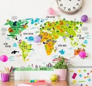 Carte Du Monde Sticker : stickers carte du monde voyagez de chez vous tenstickers ~ Dode.kayakingforconservation.com Idées de Décoration