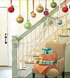 Christmas balls hanging from ribbon would look great
