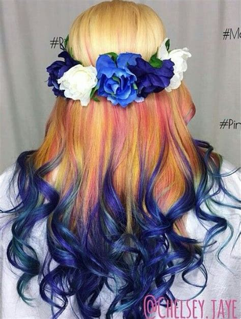 Blonde Blue Ombre Dyed Hair Colorful Hair In 2019 Hair