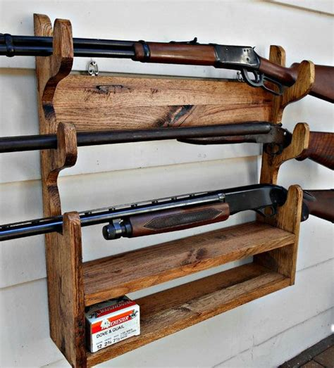 pallet wood gun cabinet plans gun rack solid oak holds 3 guns with shelf by