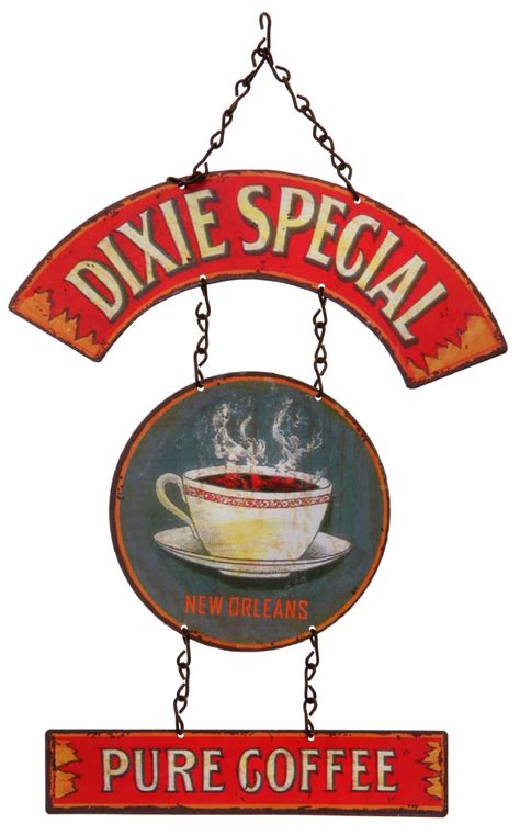 dixie special pure coffee  part tin sign fabled labels