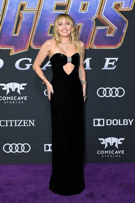 miley cyrus wears black dress  avengers endgame premiere