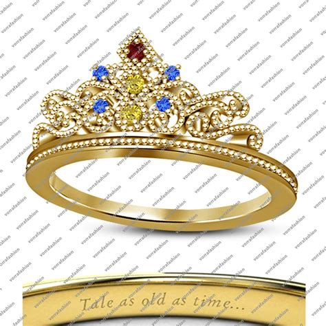 14k yellow gold finish round multi color cz disney belle