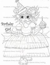 Birthday Happy Digi Cake Sherri Baldy Stamps Coloring Sweeties Lil Instant Stamp Blank sketch template