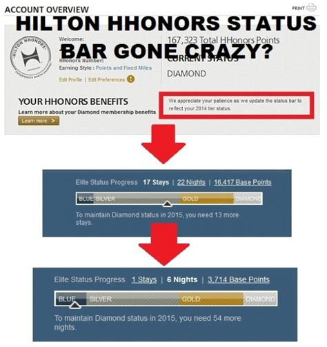 hilton honors desk hilton hhonors status bar woes what my status is come
