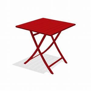 Table De Jardin 2 Personnes : table de jardin marius carr e rouge carmin 2 personnes leroy merlin ~ Teatrodelosmanantiales.com Idées de Décoration
