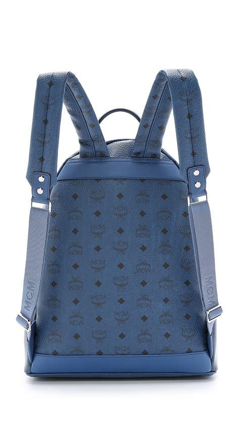 mcm  studded stark backpack  blue  men lyst