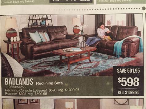 badlands leather sofa  badcock   reclining