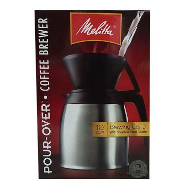 Water is then poured over the coffee and the flow of water is regulated by a hole in the bottom of the cone. Melitta Coffee Maker, 10 Cup Pour- Over Brewer with Stainless Thermal Carafe by Melitta - Shop ...