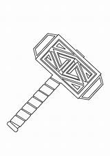 Hammer Coloring God Printable Thor Mjolnir Weapon Super Categories sketch template