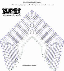 Southern Trails Shawl Stitch Diagram Rows 21-26 Plus Edging - Elk Studio
