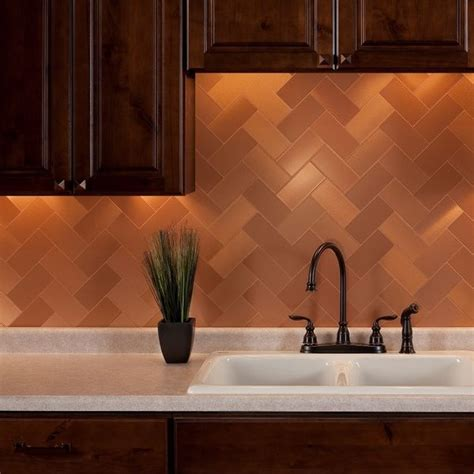 metallic wall tiles kitchen aspect 3x6 inch brushed copper grain metal 15 square 7479