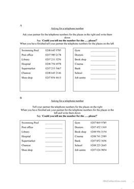17 Free Esl Phone Number Worksheets