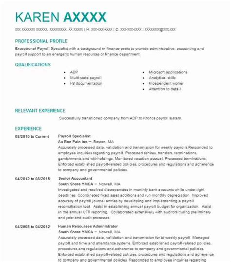 Loan Review Specialist Resume by Best Payroll Specialist Resume Exle Livecareer