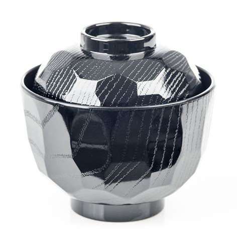 black lacquer miso soup bowl and lid