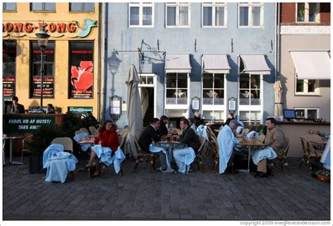 Restaurant with blankets for patrons. Nyhavn (New Harbor ...