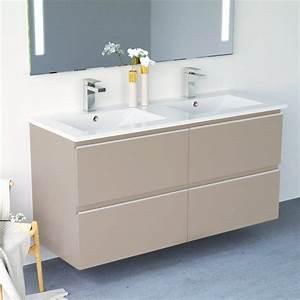 Meuble Vasque Double : inglet meuble salle de bain brillants laqu 3 finitions 121 cm double vasque c ramique ~ Teatrodelosmanantiales.com Idées de Décoration