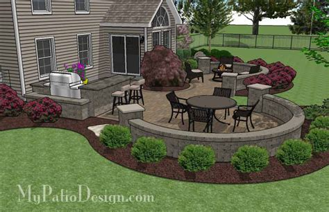 patio seat wall design large paver patio design with grill station seat walls mypatiodesign com house decor