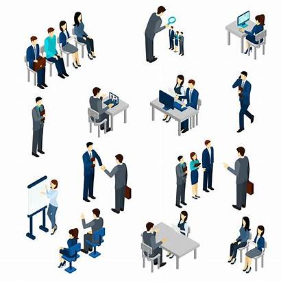 Recruitment Process Vector Illustration Business Isometric Employees