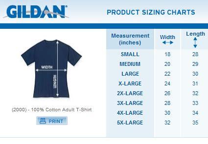 Gildan Shirt Size Chart - Gallery Of Chart 2019