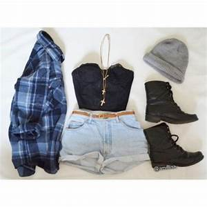 Shirt: lace crop bustier, high-waisted jean shorts, combat ...