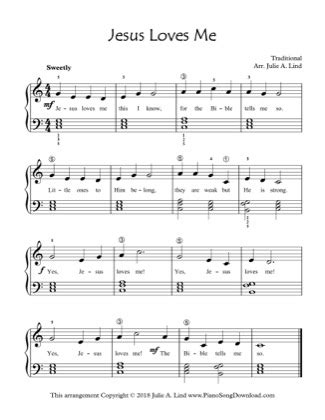 Part of the songs that everyone love to sing ( but if you sing you lose ) hello! Jesus Loves Me - Kids (Lvl 2) Free Piano Sheet Music PDF