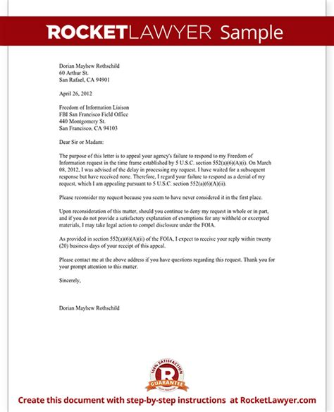 freedom  information appeal letter template  sample