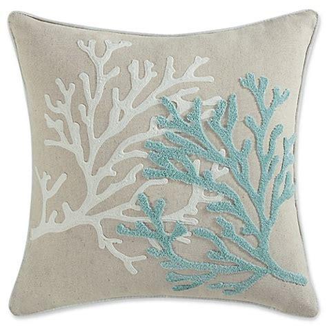 coastal throw pillows coastal living 174 coral square throw pillow in aqua