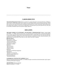 resume objective statement for business management career objective resume sle objective exles for resumes