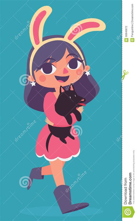 vector girl wearing easter bunny costume royalty