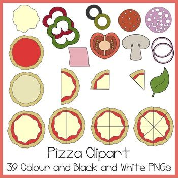 pizza clipart ideal  fractions  high clipart tpt