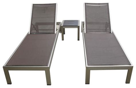 outdoor aluminum textilene pool lounge resin 3 chair