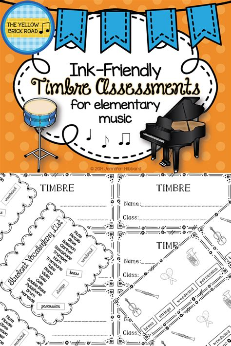 ink friendly timbre assessments  elementary