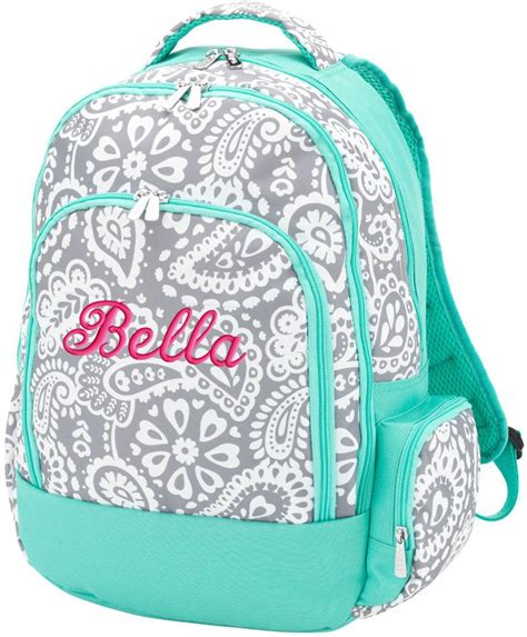 personalized backpack gray paisley monogram backpack personalized backpack tote bags  school
