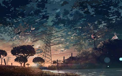 landscape digital art power lines signs bokeh clouds