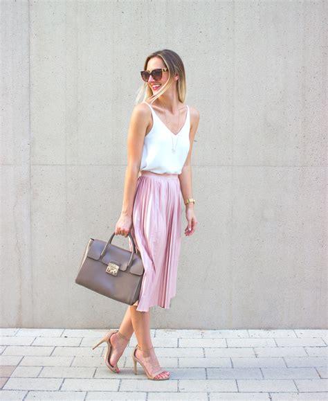 Blush Pink Pleated Midi Skirt Livvyland Austin Fashion