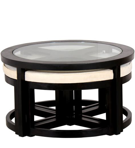 black round coffee table set black forest round coffee table with 4 stools by